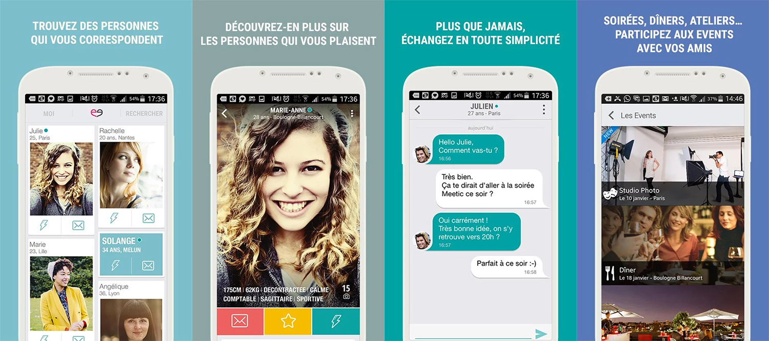 Les applications smartphones de Meetic